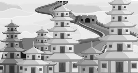 Vintage China Buildings Illustration Illustration