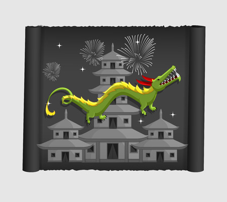 Japanese Dragon Flying Over the Buildings Illustration