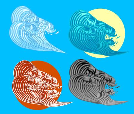 ukiyoe: The Great Wave off Kanagawa Illustration Illustration