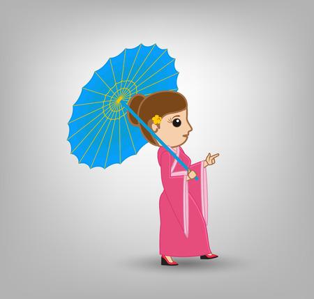 saree: Indian Lady ion Saree with Chinese Umbrella