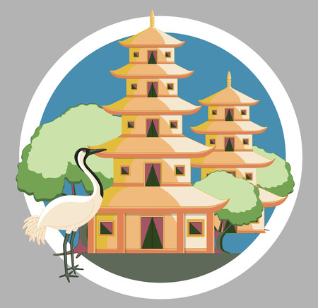 Religious China Temple with Grateful Crane Bird Illustration