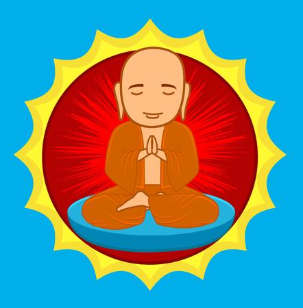 buddhist monk: Divine Buddhist Monk Illustration