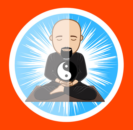 moksha: Spiritual Taoism Monk Holding Yin-Yang Symbol in Hand Illustration