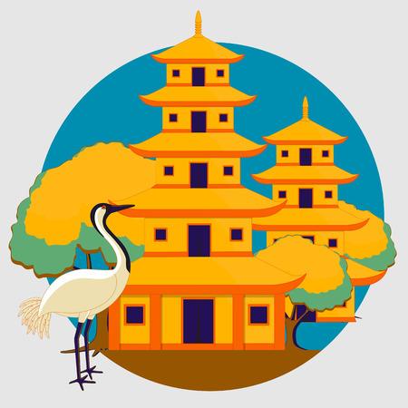 crane bird: Chinese Temple with Crane Bird