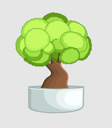 asian gardening: Bonsai Tree in Vase Illustration