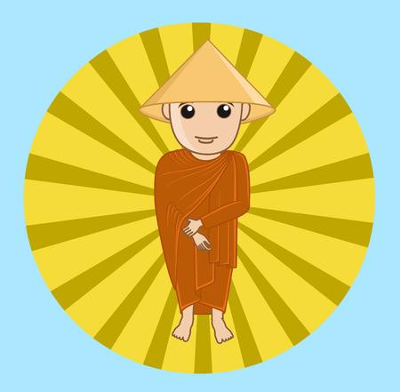 moksha: Chinese Devotee Monk Illustration Illustration