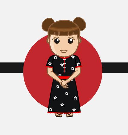 young asian girl: Geisha Character