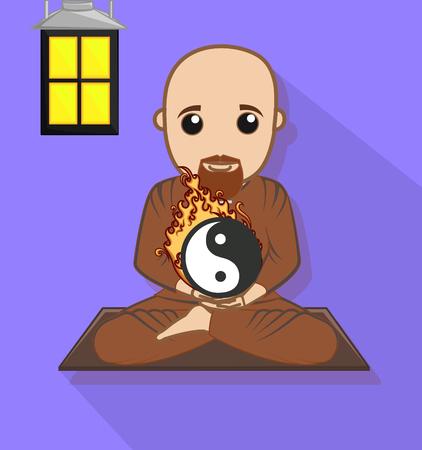 taoist: Chinese Monk with Yin-Yang Symbol