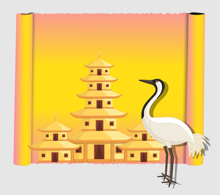 Crane Bird with Shinto Temple Parchment