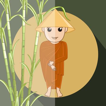 devotee: Japanese Devotee Monk Illustration
