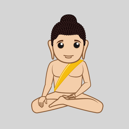 jainism: Cartoon Mahavira Saint Character Illustration
