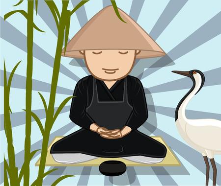 moksha: Chinese Monk Meditating with Grateful Crane Illustration