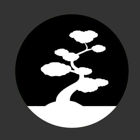 asian gardening: White Shapes Bonsai Isolated on Dark Background Illustration