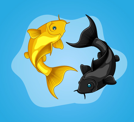 Yellow and Black Koi Fishes Illustration
