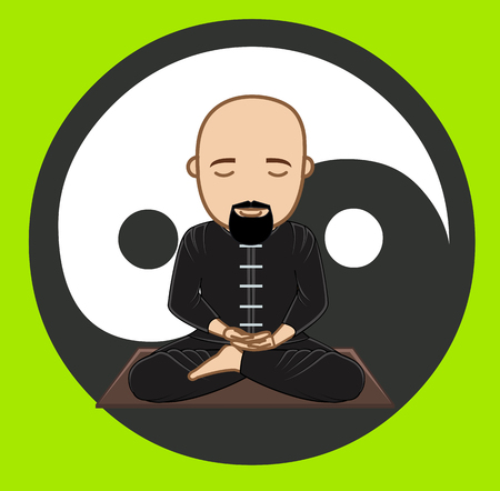 jainism: Taoism Monk Meditation Concept Illustration