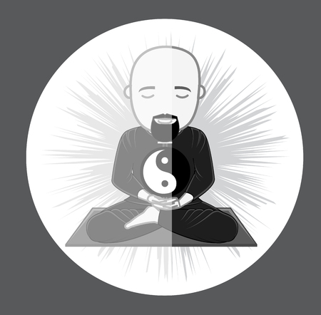 daoism: Concentrating Taoism Monk with Yin-Yang Symbol