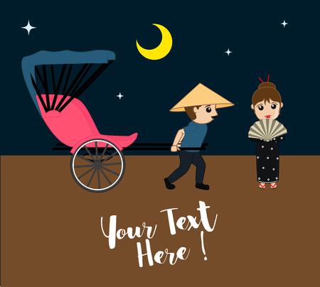 rikscha: Warten Geisha für Hand Rikscha bei Nacht Illustration