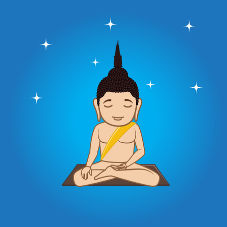 buddhist monk: Gautama Buddha Doing Meditation Illustration