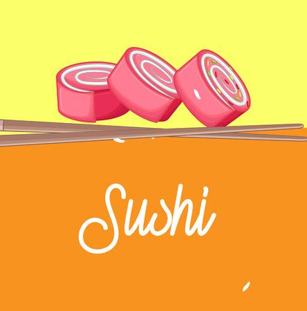 Sushi - Japanese Traditional Food Illustration