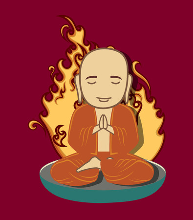 Burning Monk Illustration Illustration