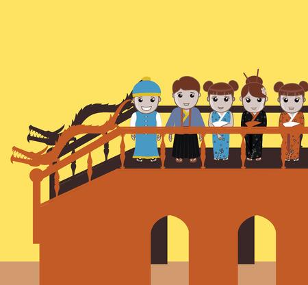 Mensen verzamelen over Bridge voor carnaval Vector Illustratie
