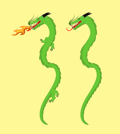 Japanese Dragons Illustration Illustration