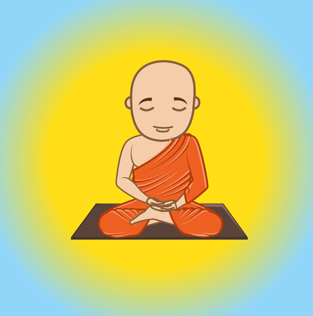 jainism: Buddhist Monk Character Illustration