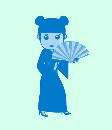 hand fan: Ancient Geisha Character with Hand Fan
