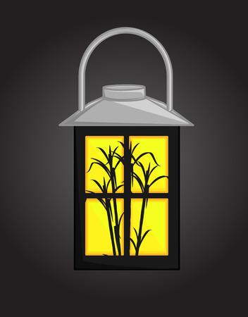 sugarcane: Sugarcane Silhouette Against Lantern
