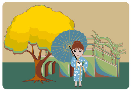 Oriental Geisha with Ancient Umbrella Illustration Illustration