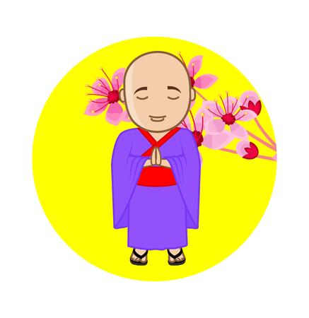 moksha: Japanese Monk on Flowers Background