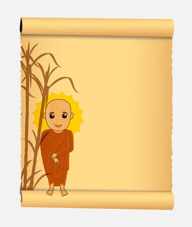 jainism: Monk Parchment Illustration