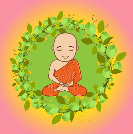 Buddhist Monk Doing Meditation