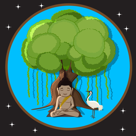 buddhist monk: Gautama Buddha with Crane Bird