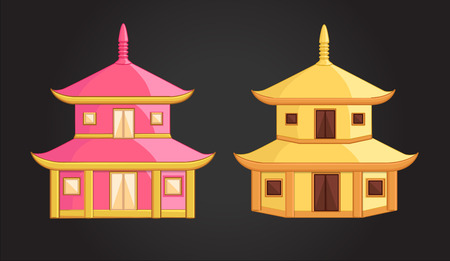 China Temple House Illustration