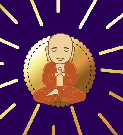 buddhist monk: Devotee Buddhist Monk Illustration