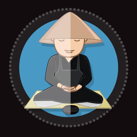 jainism: Chinese Monk Meditating