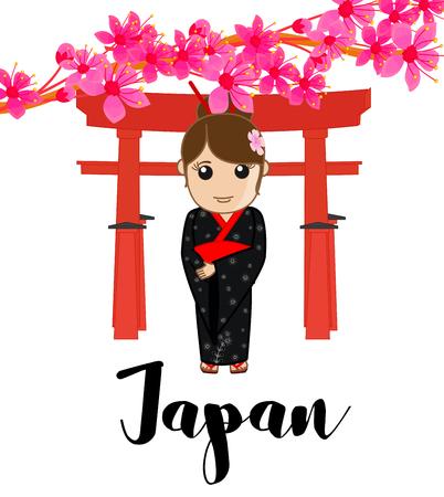 shinto: Geisha at Shinto Vector Illustration
