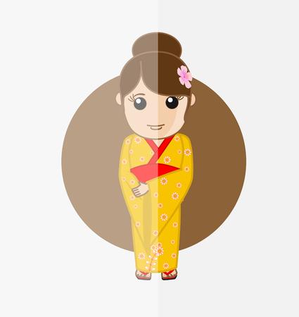 geisha kimono: Traditional Geisha in Kimono Dress