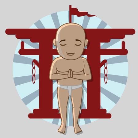 moksha: Kung-Fu Monk in Shinto Vector Illustration