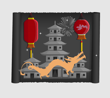 Japanese Dragon, Lantern and Buildings Vector Illustration Illustration
