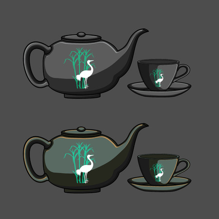 chinese teapot: Chinese Teapot and Cup Vector Illustration