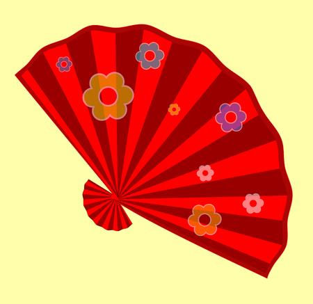 Red Flowers Folding Fan Design