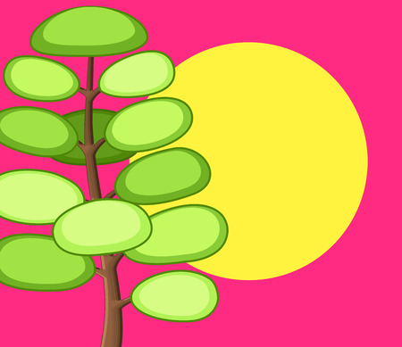 plants and trees: Colored Comic Tree Background Illustration