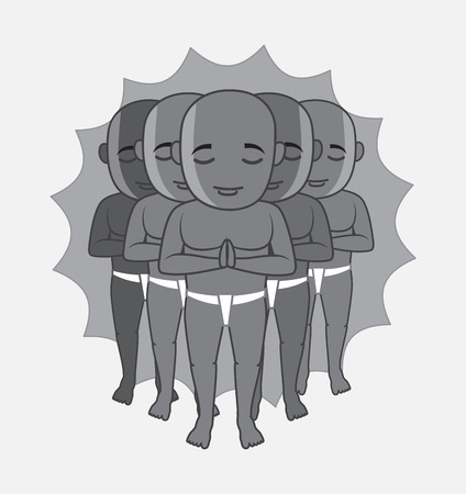 jainism: Shaolin Monks Characters Vector Illustration