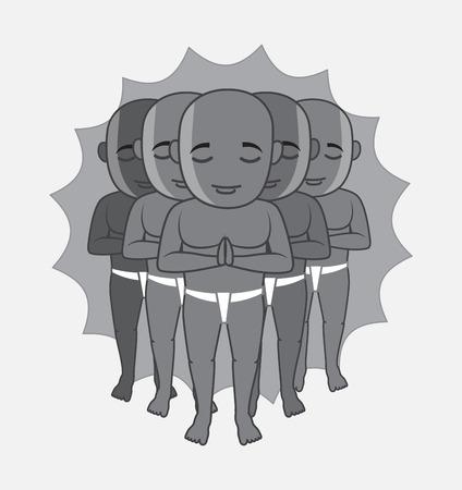 karma: Shaolin Monks Characters Vector Illustration