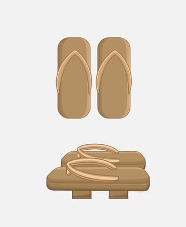 sandals: Traditional Wooden Sandals Vector