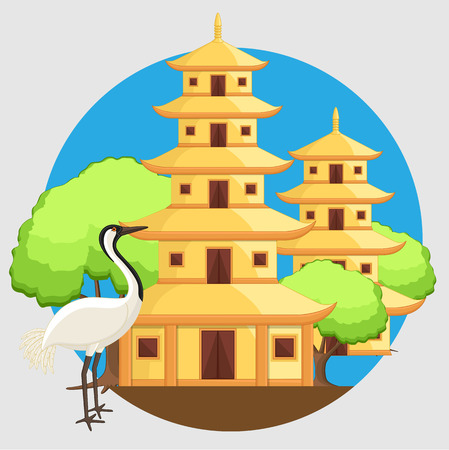 crane bird: Chinese Temple with Crane Bird Vector Illustration Illustration