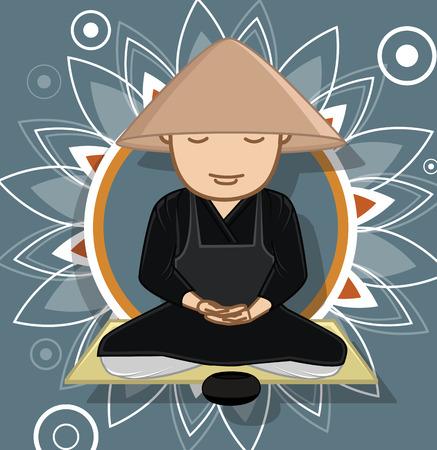 moksha: Chinese Monk Meditating Vector Illustration Illustration