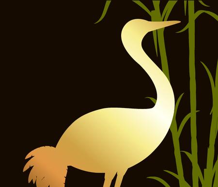 sugarcane: Grateful Crane Golden Silhouette